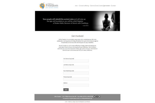 Call to Freedom: Custom Website